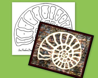 TEMPLATE: Ammonite Shell Silhouette TEMPLATE ONLY Instant Download, Sea, Ocean, Shell, Underwater, Wall Decor, Sewing, Quilting, Wall Art