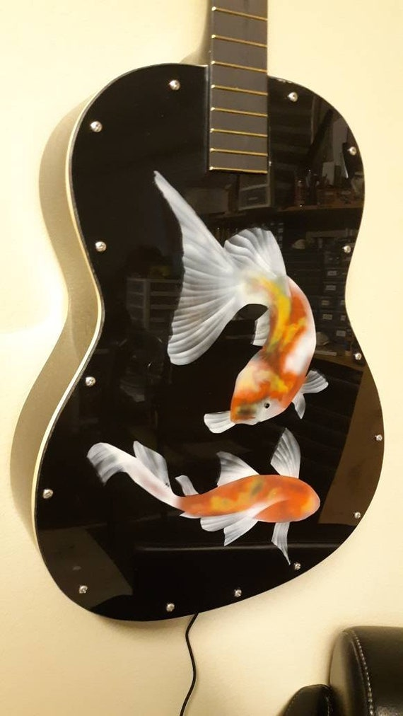 back lit with color changing LED Guitar Lamp # 137 Recycled guitar with dragonflies painted with alcohol ink on plexiglas