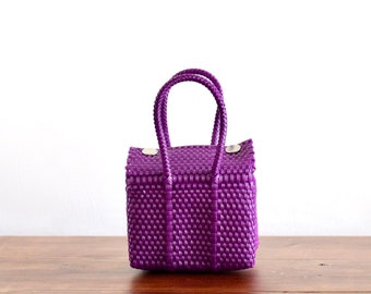 Purple Colorful Mexican handbag, Woven Mexican Bag, Bag for kids, Purse for kids, Mexican Basket, Woven Basket, Gifts for kids