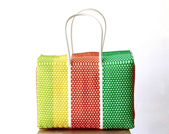 Multicolored Mexican Bag, Handwoven Mexican Tote, Oaxaca Tote, Mexican Plastic Bag, Mexican Basket, Mexican Art, MexiMexi, Picnic Basket