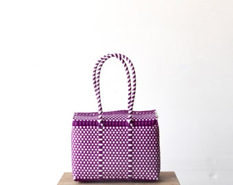 Purple and White Mexican Bag, Handwoven Mexican Bag, Oaxaca Tote, Mexican Plastic Bag, Mexican Basket, Mexican Art, MexiMexi, Picnic Basket