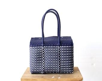 Navy Blue Mexican Bag, Handwoven Mexican Handbag, Oaxaca Tote, Mexican Plastic Bag, Mexican Basket,Mexican Art, MexiMexi,Picnic Basket