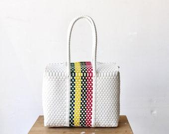 White & Colors Mexican Bag, Handwoven Mexican Handbag, Oaxaca Tote, Mexican Plastic Bag, Mexican Basket,Mexican Art, MexiMexi,Picnic Basket