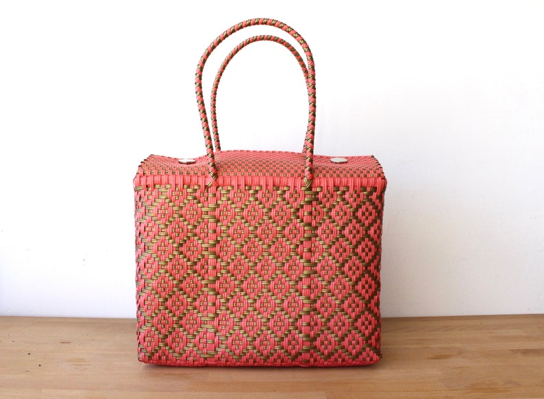 Coral & Gold Mexican Bag, Oaxaca Tote, Mexican Plastic Bag, Mexican Basket,  Mexican Art, MexiMexi, Picnic Basket