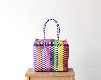 Colorful Mexican Bag, Handwoven Mexican Bag, Oaxaca Tote, Mexican Plastic Bag, Mexican Basket, Mexican Art, MexiMexi, Picnic Basket