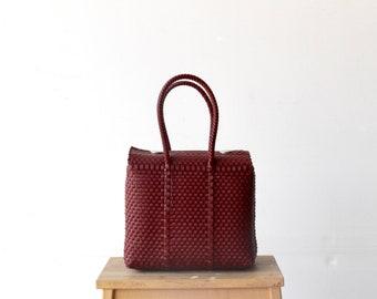 Maroon Mexican Bag, Handwoven Mexican Bag, Oaxaca Tote, Mexican Plastic Bag, Mexican Basket, Mexican Art, MexiMexi, Picnic Basket