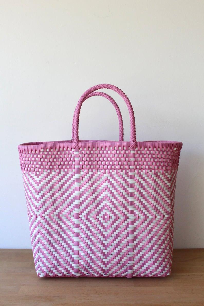 Picnic Bag Pink /& White Woven Tote bag Getaway Bag Mexican Gift Travel Bag Picnic Basket Beach Bag Mexico Bag Weekend Bag
