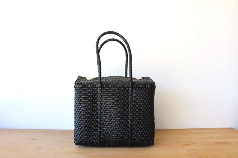 Black Handwoven Mexican Bag, Oaxaca Tote, Mexican Plastic Bag, Mexican  Basket, Mexican Art, MexiMexi, Picnic Basket