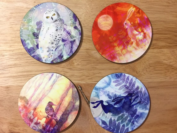 Set of four animal coasters