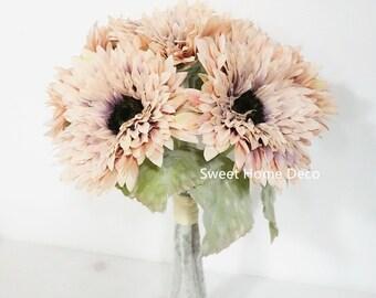 6 Heads Artificial Flowers Gerbera Daisy Bouquet Wedding Home Garden Decor