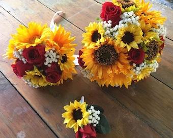 Sunflower wedding bouquet etsy jennysflowershop silk sunflower rose babysbreath wedding bouquet bridal bouquet bridesmaid bouquet boutonnere in yellowred junglespirit Images