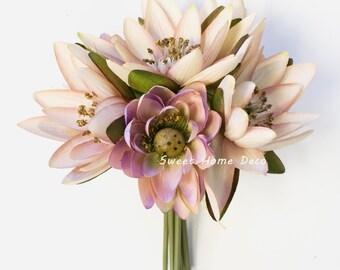 Fake water lilies etsy jennysflowershop 9 silk lotus flower bouquet 7 stems7 flower heads for wedding home decoration mauvepink mightylinksfo