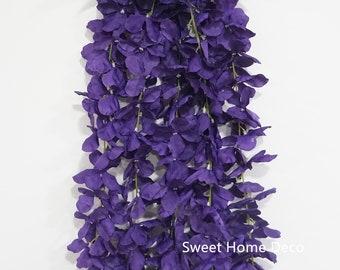 Silk flower stems etsy jennysflowershop 25 hanging wisteria silk artificial flower bush 5 stems for weddinghomeparty decorations purple mightylinksfo