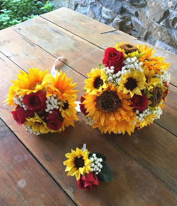 Jennysflowershop Silk Sunflower Rose Babysbreath Wedding Etsy