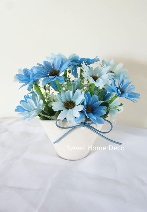Jennysflowershop 7 T Margarita Seda Arreglos Florales En Cesta Forma Cerámica Florero Mesa Bonsai Hogar Decorar Flores Azul