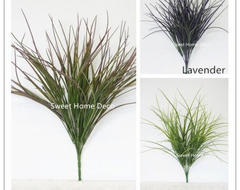 JennysFlowerShop 21''T Large Plastic Artificial Grass Bush in Three Colors (10 Stems w/ 100 Leaves)