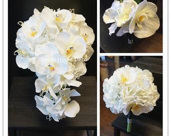 JennysFlowerShop Real Touch Phanaenopsis Orchid Hydrangea Diamond Wedding Bouquet Package Bridal Bouquet Bridesmaid Bouquet Boutonniere