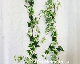 JennysFloweShop 6'L Silk Ivy Artificial Garland Greener Leaves Garland Party/Home Decorations Green/White