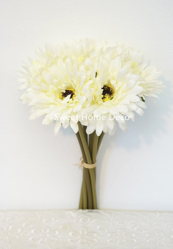 UK 7 Heads Artificial Gerbera Gerber Daisy Arrangement Silk Wedding Flower Dec