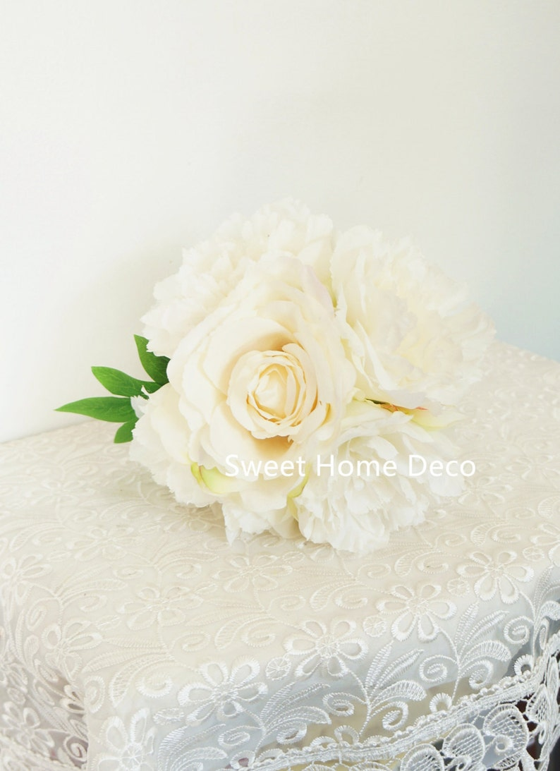 JennysFlowerShop 12/'/'T Silk Blooming Peony Rose Artificial Flower Wedding Bouquet Home Decor Flower Bunch no Pot Included White