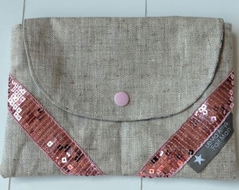 Liberty pouch and linen - Betsy blue and pink