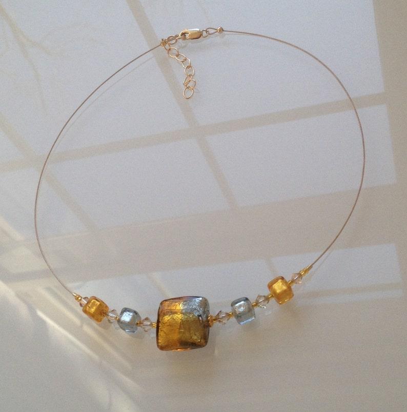 Modern Necklace Venetian Jewelry Topaz Italian Jewelry Murano Glass Necklace Collier Perles Murano Bronze and Steel Square