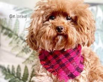 cd6f5386d893 Frayed Pink Mulled Wine Tweed Check Puppy Dog Bandana Tie on Scarf
