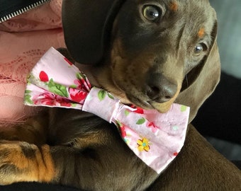 2b0c47966705 Pink Vintage Bow Tie for Puppy or Dog