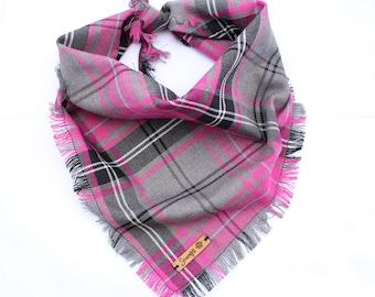 Frayed Buffalo Pink Plaid Check Puppy Dog Bandana Tie on Scarf