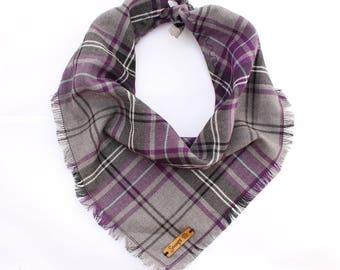 Frayed Buffalo Purple Plaid Check Puppy Dog Bandana Tie on Scarf