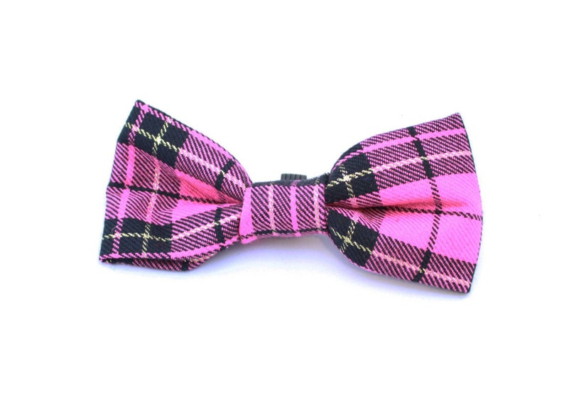 ab7d75dbbb5f Pink & Gold Plaid Tartan Bow Tie for Puppy or Dog | Etsy