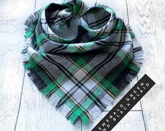 Emerald Green & Black Frayed Plaid Check Puppy Dog Bandana Tie on Scarf