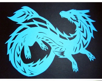 Paper Cutting Art - Asian Dragon