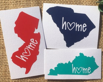 Free Shipping* Home Heart State Decal - Custom Car Decal Laptop Decal Phone Decal Initials
