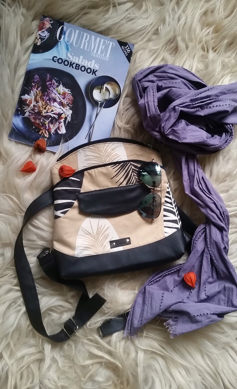 Eco leather backpack up cycled bag mini backpack purse image 0