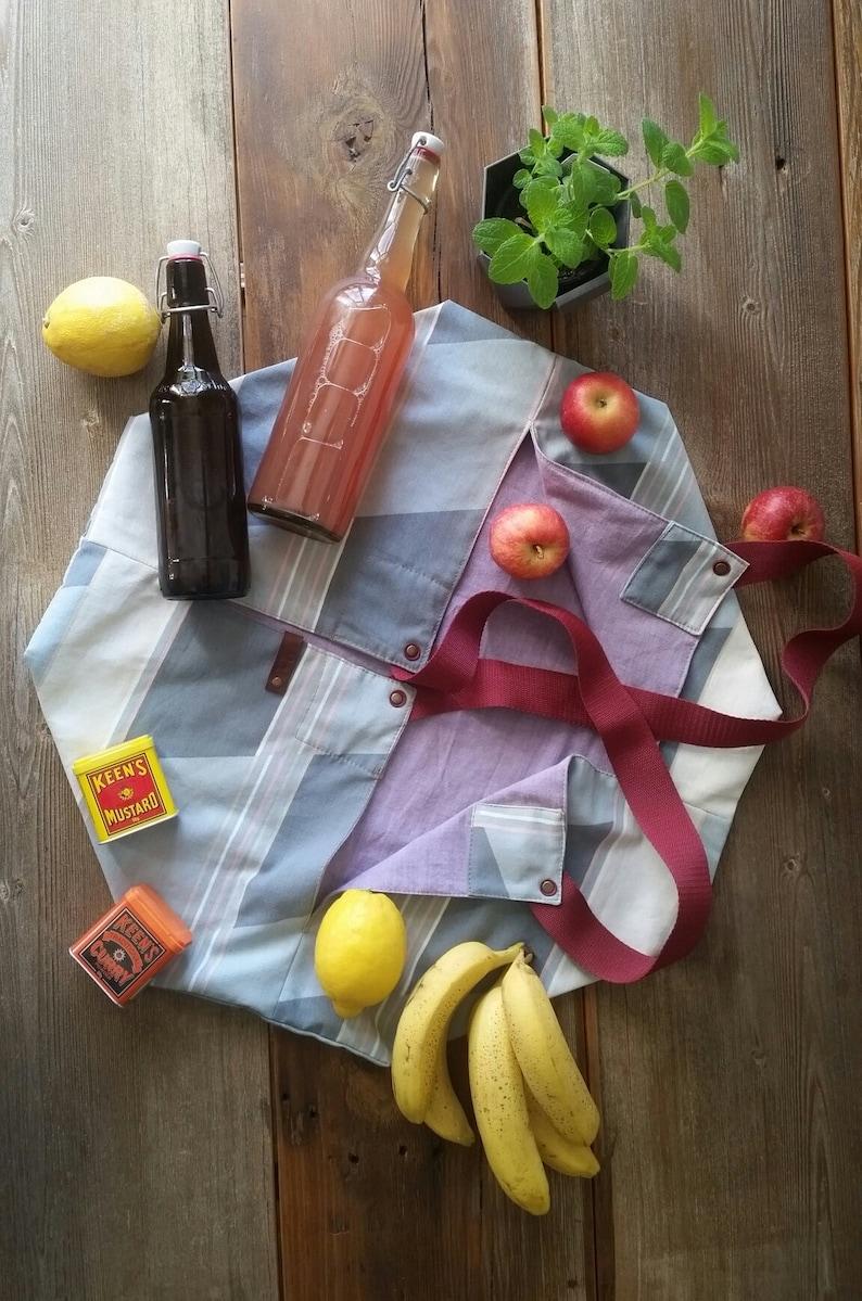 Zero waste market bag upcycled origami bag Mother's Day image 0