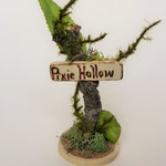 Pixie Hollow fairy garden sign. Miniature garden, garden decor, terrarium, indoor garden, fairy gift.