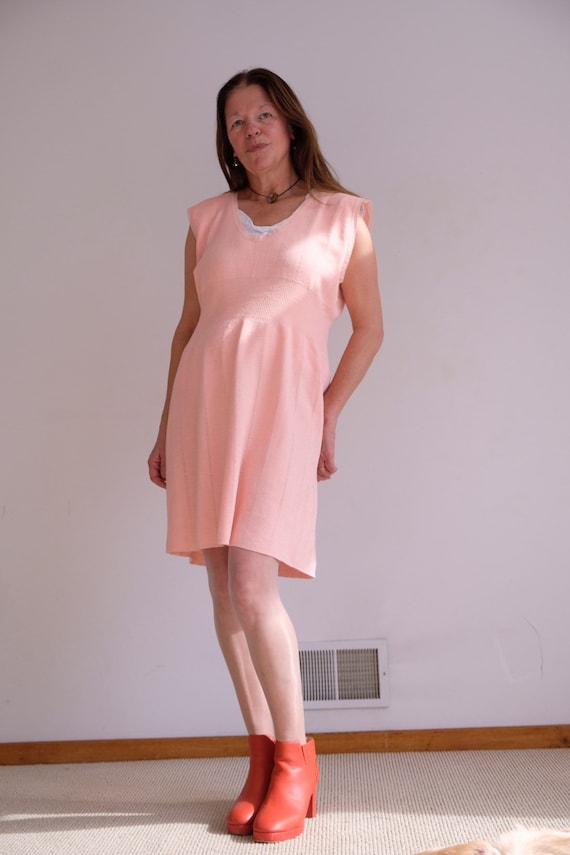 Vintage Peachy Pink Wool Knit Dress
