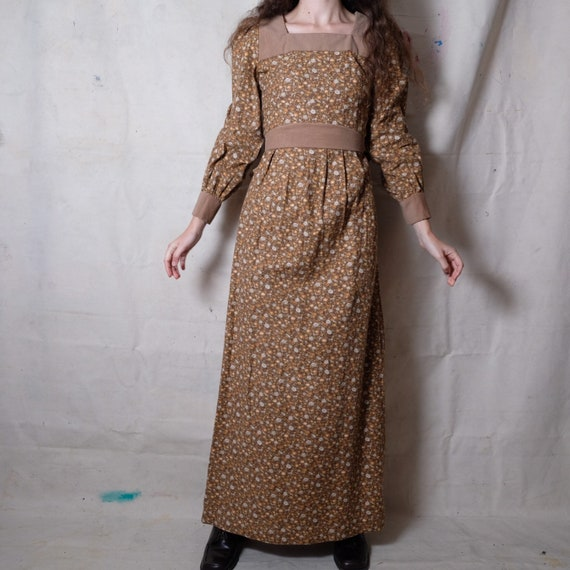 1970s handmade brown ditsy floral maxi dress | 28""