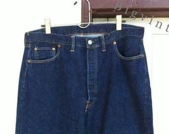 Vintage Levi's 501 Big E V Stitch 37 x 31 Dark Indigo