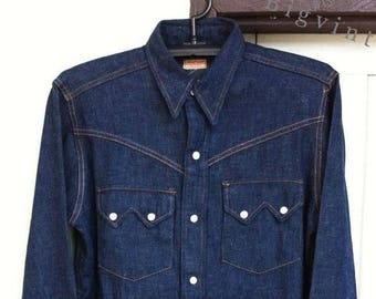 Vintage 50's Longhorn Sanforized Sawtooth Denim Western Shirt Sz.M Excellent Condition !!