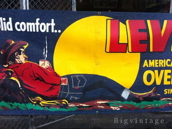 Vintage 50's Levis Denim Store Banner Silkscreen C