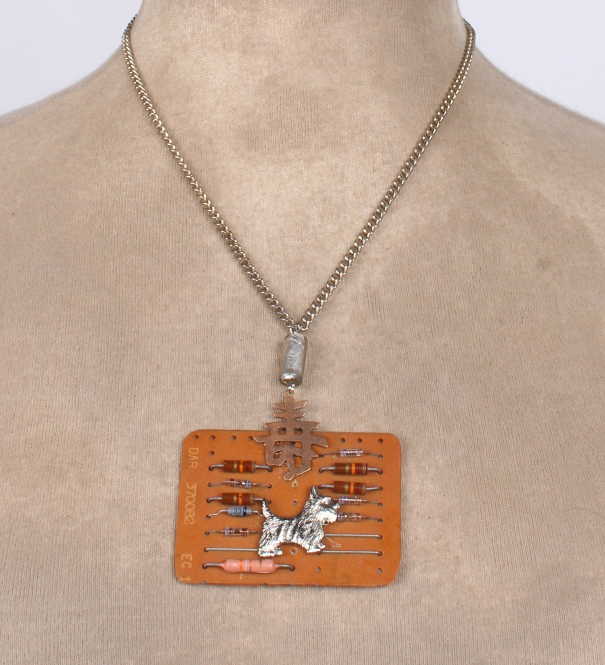Scotty Dog On A Vintage Computer Circuit Board Necklace Etsy Green Picture Frame By Robyriker Zoom