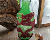 Chinese quot Peking Glass quot Snuff Bottle, Green, Brown, Dragon, Agate