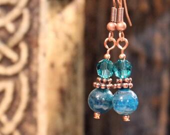 Swarovski Crystal and Pacific Apatite Bead Drop Earrings