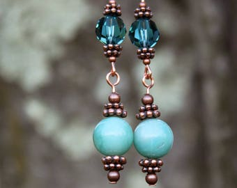 Copper, Swarovski Crystal, and Amazonite Bead Drop Earrings