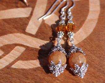 Swarovski Crystal and Fire Agate Dyed Amber Bead Drop Earrings