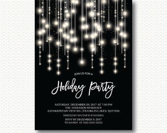 elegant twinkling lights christmas party invitations dyi etsy