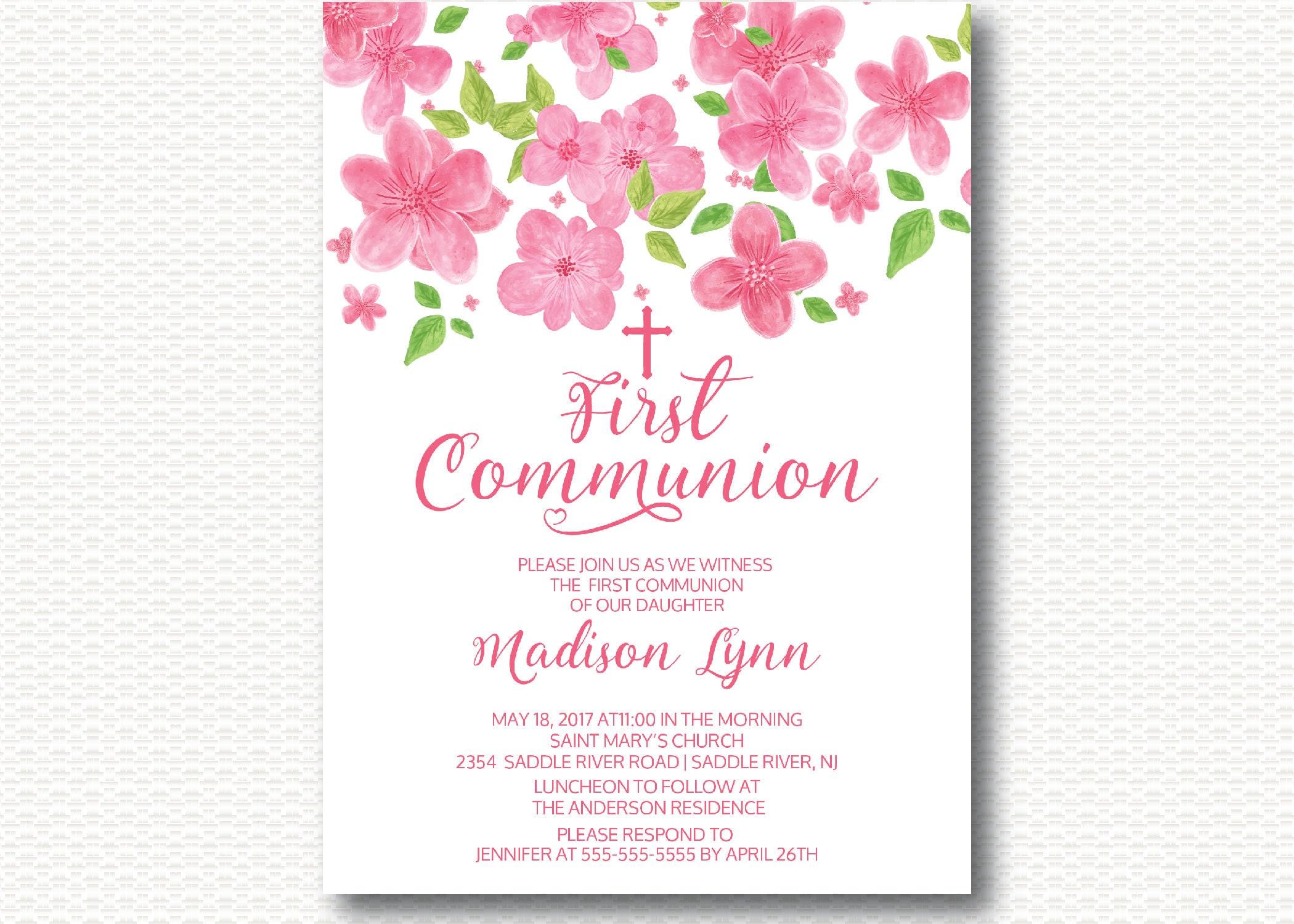 780c653f96fcb Rosa flores invitación de comunión primera comunión 1ª