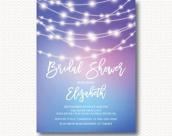 Lights Bridal Shower Invitation, Strings of Lights, String Lights, Chic, Modern, Blue, Purple, Typography, DYI Digital, Printable,